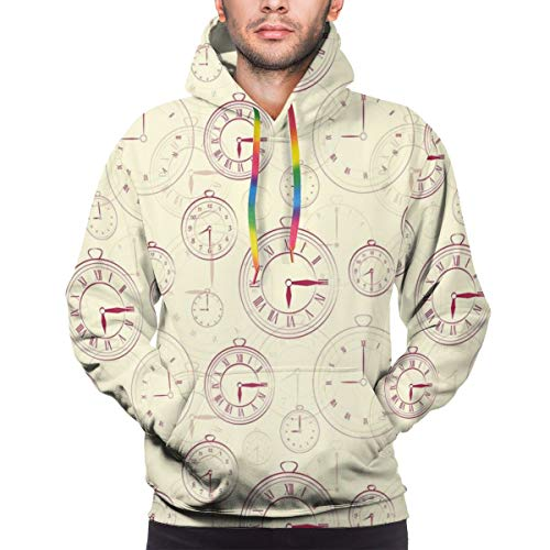 Men's Hoodies 3D Print Pullover Sweatershirt,Vintage Watches with Roman Digits Antique Machine...