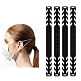 Fushing 15Pcs Silicone Mask Extender Hooks, 4 Adjustable Mask Ear Protector, Mask Ear Strap Hooks, Ear Cord Extension Buckle for 1/8 inch Elastic Cord Masks