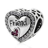 Charm dell'amicizia a forma di cuore in argento Sterling 925, con la scritta in lingua inglese 'Friend', per braccialetti Pandora A