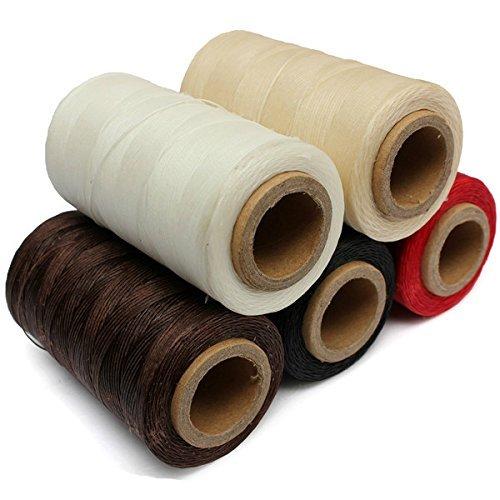 Cordón de hilo encerado de cuero 150D 1 mm 50 metros 5 unidades durable para bricolaje artesanía herramienta costura de mano hilo negro marrón blanco beige rojo