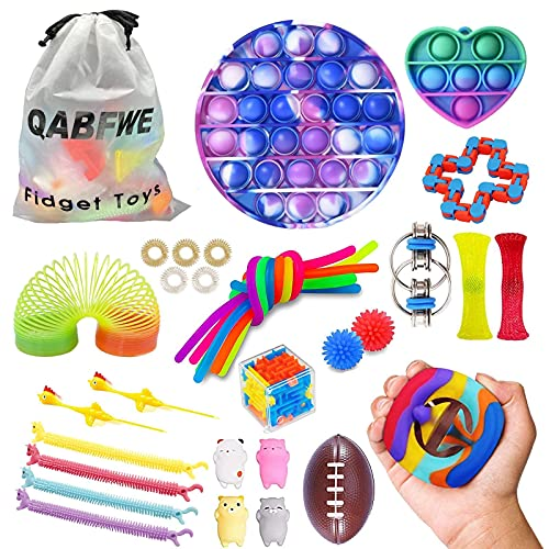 Qabfwe Sensory Fidget Toys Set, Stress Relief Toys for Kids Adults Anxiety Autism,Kids Party Gift,Birthday Party Gift, Classroom Rewards for School Supplies (33PCS)