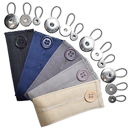Bunderweiterung, Knopfverlängerung, 17-teiliges Set, 8 x Metallfeder-Knopfverlängerung, 4 x Kragenverlängerung, 5 x Baumwoll-Bunderweiterung für Hosen, Hemden, Röcke, Jeans
