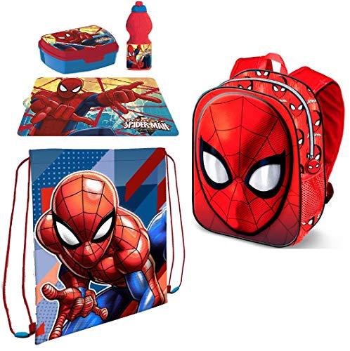 LTP Spiderman Set Zainetto Zaino in 3D ,Sacca Sport, Porta Merenda Scuola Asilo Tempo Libero