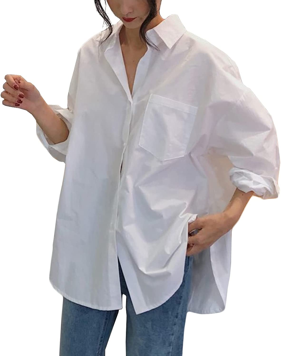 Womens Casual White Shirts Long Sleeve Loose Oversized Button Down Blouses Tops