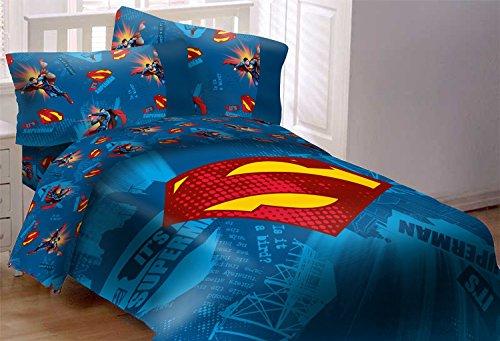 Ben&Jonah Superman Emblema de 5 piezas reversible, súper suave, de lujo, juego de edredón de tamaño completo, 86 pulgadas x 86 pulgadas