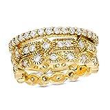 Juego de tres anillos apilables de zafiro blanco creado para ella en plata de ley 925 con chapado en oro amarillo de 18 quilates