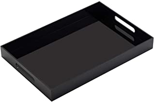 Glossy Black Sturdy Acrylic Serving Tray with Handles-12x16Inch-Serving Coffee,Appetizer,Breakfast,Butler-Kitchen Countert...