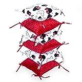 protector cuna chichonera 6 almohadas - parachoques bebe chichoneras 30 x 30 cm (rojo, 6 almohadas 30 x 30 cm)