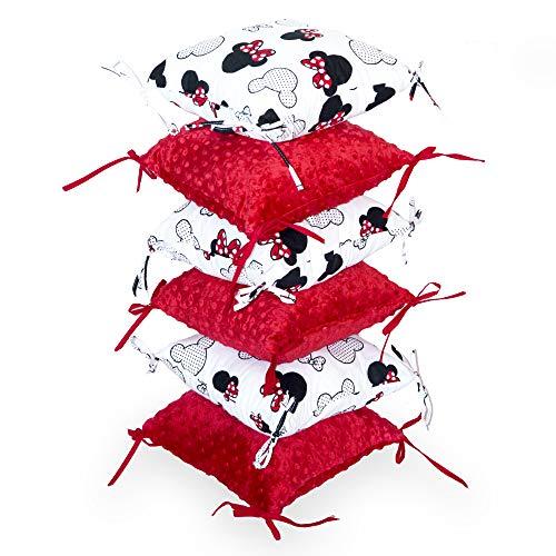 tour de lit bebe garçon - 6 Pièces Coussin de Protection 30 x 30 cm contour de lit bébé (2. Rouge, 6 oreillers: 30 x 30 x 12 cm)