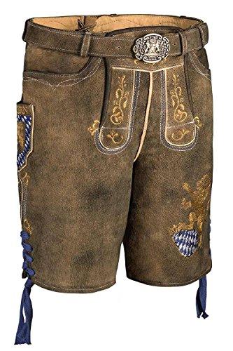 Spieth & Wenksy Moser Trachten Lederhose kurz mit Gürtel braun mit Bayernwappen Fayern 003310, Material Leder, Größe 52