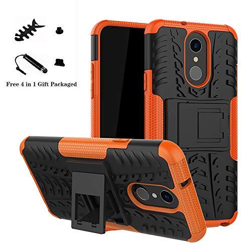 LiuShan LG Q7 Custodia, Protettiva Shockproof Rigida Dual Layer Resistente agli Urti con cavalletto Caso per LG Q7 Smartphone (con 4in1 Regalo impacchettato),Arancione