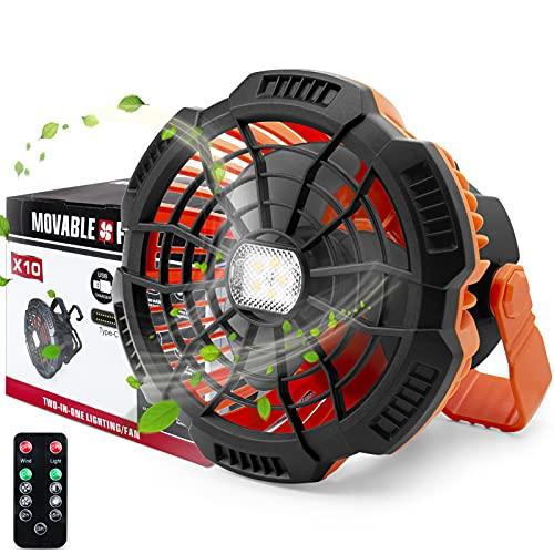 Sonee Ventilador de camping portátil recargable con luz LED, mando a distancia, soporte plegable integrado y gancho a pilas, ideal para garaje, camping, al aire libre, hogar