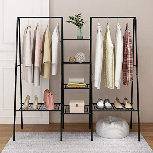 HOMERECOMMEND Large Clothes Rail Clothing Rack Stand, Metal Coat Rack, Coat Rack, Top Rod Metal and Shoe Rack Large Storage Space Black