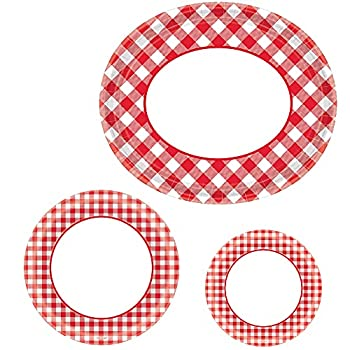 Party City Picnic Party Red Gingham Buffet Plate Supplies for 120 Guests Include Large Oval Lunch and Dessert Plates