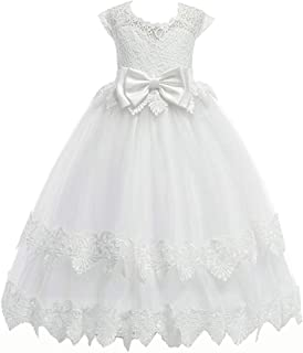 LIVFME 4-14Y Flower Girls Dresses Pageant Party White First Communion Dress Wedding Prom Ball Gowns