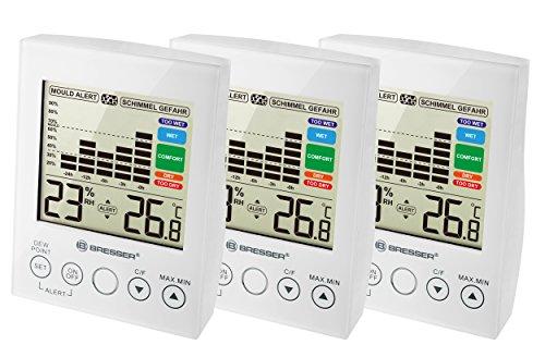 Bresser Hygrometer und Thermometer mit Raumluftfeuchtigkeitsüberwachung und Schimmelalarm 3er Set, weiß
