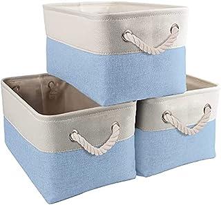 Boîte de rangement Jumbo de 3, paniers de Rangement en Tissu de Toile avec poignées pour armoires, Armoire, étagères LUXin...
