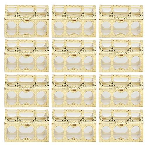 Tillräckligt rymdchokladbehållare 12st godislåda för bröllopsbarnsdag Nyfödda festfödelsedagsfest(Golden 7cm)