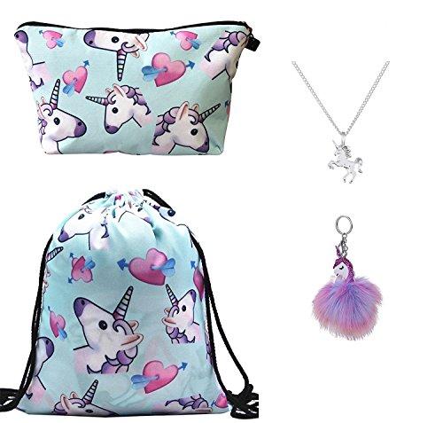 DRESHOW 4 Paquete Unicornios Mochila con Cordón/Maquillaje Bolsa/Collar de Cadena de Aleación/Fluffy Llavero Colgante Llavero para Niñas