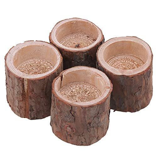 RDEXP Natural Pine Wooden Candle Holder Inner Dia 1.57in Depth 0.59in Handmade Candlesticks for Home Decoration Set of 4