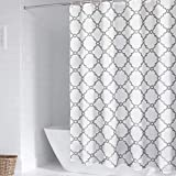 WELTRXE Waterproof Fabric Shower Curtain with Hooks, White and Gray Polyester Cloth Bathroom Curtains Machine Washable, Moroccan Geometric Pattern, 72 x 72 inches