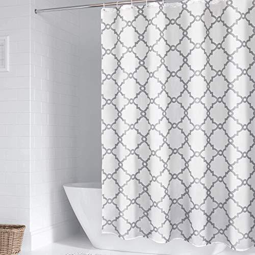 WELTRXE Wasserdichter Stoff-Duschvorhang mit Haken, weiß und grau, Polyester-Tuch, Badezimmer-Vorhänge, maschinenwaschbar, marokkanisches geometrisches Muster, 183 x 183 cm