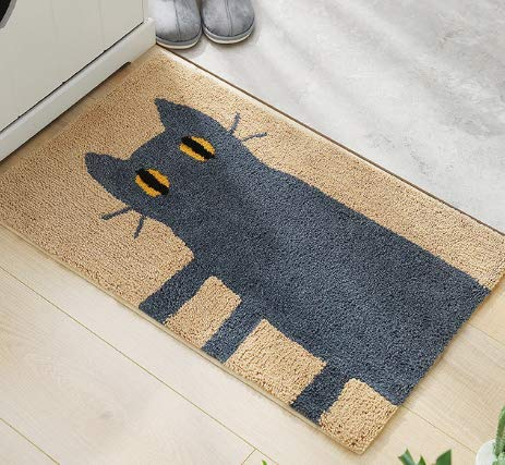 """Super Absorbent Greeting Doormat for Bathroom, 15.5"""" x 23.5"""", Durable, Machine Washable, Easy Clean, No Odor, Resist Dirt Rugs, Waterproof Backing and Non Slip Rubber (Khaki Cat)"""