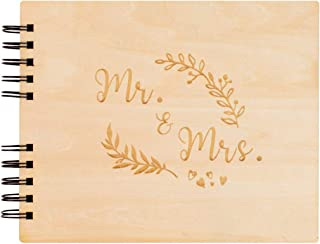 Creawoo 8.5'' Mr&Mrs Wooden Guest Book Album Memory Keepsake for Wedding Anniversary Birthday with 80 Pages Blank Black Cardstocks - Love Story Scrapbook