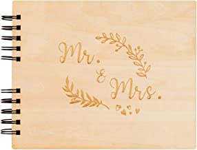 Creawoo 11'' Mr&Mrs Wooden Guest Book Album Memory Keepsake for Wedding Anniversary Birthday with 120 Blank Pages, Available at Least 240 Pictures-White Paper