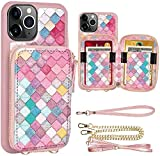 iPhone 11 Pro Max Wallet Case, ZVE iPhone 11 Pro Max Credit Card Holder Case with Crossbody Chain Handbag Purse Zipper Leather Case Protective Cover for Apple iPhone 11 Pro Max 6.5 inch - Mermaid Wall