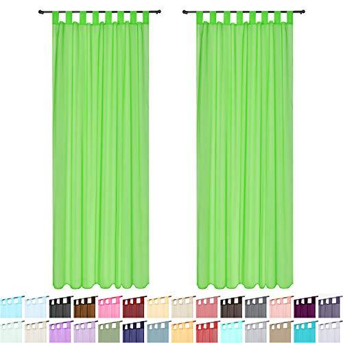 """Megachest - Cortina de gasa tejida con presillas superiores, un par de cortinas con abrazaderas, 28 colores, poliéster, verde manzana, 56""""wideX36""""drop(W142cmXH91.5cm)"""