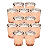 Votive Candle Holders Set of 6 Vintage Style Speckled Glass Tea Light Candle Holders, Wedding/Party/Home Decor (Rose Gold and Coffee)