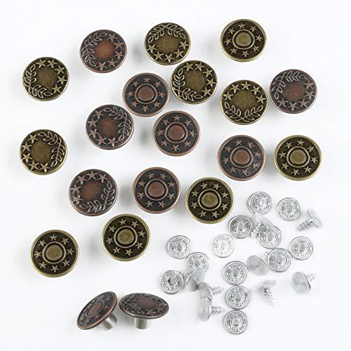 Naler 20pcs Pulsante Jeans, 17mm Sostituzione Bottoni Vintage in Metallo con Bottoni Automatici, 2 Designs, Bronzo/Rame