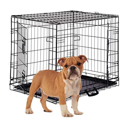 Relaxdays Opvouwbare hondenmand voor hondenvervoer auto, puppenkooi, 2 deuren, bodemschaal, draadkooi metaal, L, zwart