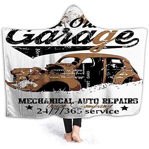 Hooded Deken Knuffel Sherpa Fleece Deken, Oude Garage Mechanische Auto Reparaties Vrachtwagen Bedrijf Schedel Grunge Display