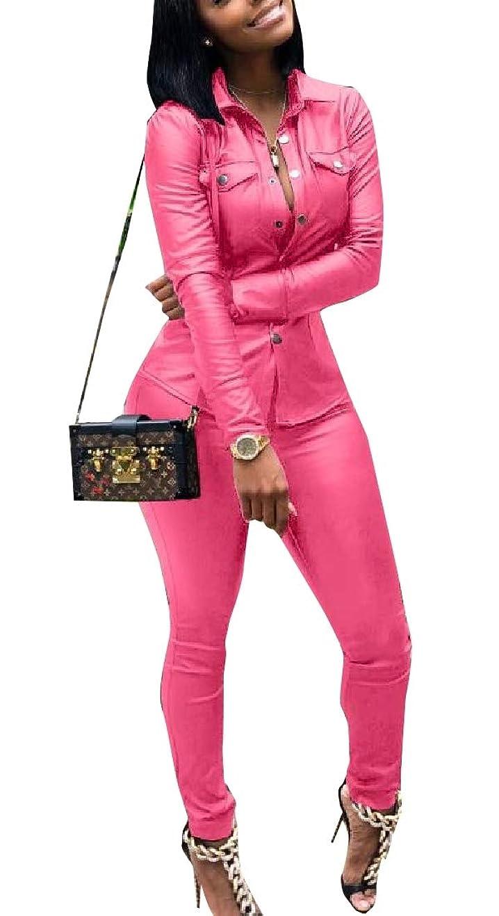 半ばゲートウェイ以下女性PUフォークスレザー2ピースセットボタンダウンシャツとパンツbodyconジャンプスーツ