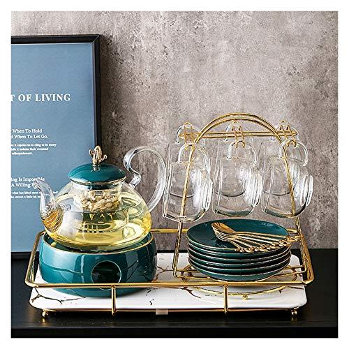 Infuser Porcelain Teapot Conjuntos de tetera de vidrio que incluyen tazas platillos de la cuchara Taza de metal taza de metal Titular de la copa de agua Conjunto de té de estilo de lujo simple y liger