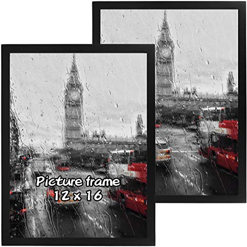 Lemecima 2 PCS Bilderrahmen 16x12 Bilderrahmen aus massiver Kiefernwand Galerie Fotorahmen mit hochauflösendem Plexiglas-Schwarz