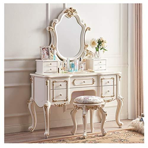 Silla de maquillaje con patas de madera de goma en la sala de estar, dormitorio, recepción, etc. 126 x 49,5 x 77,5 cm (color: blanco perlado)