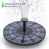 CONXWAN Solar Fountain Pump with Battery Backup, Free Standing 2.5W Bird Bath Fountain Solar Panel Kit Water Pump for Birdbath, Pond, Pool,Garden and Lawn