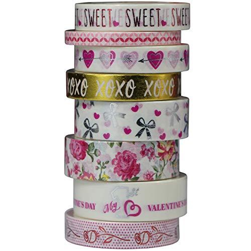 8 Rollos Washi Tapes Rosa Boda San Valentín, Cinta Adhesiva Oro Plata...