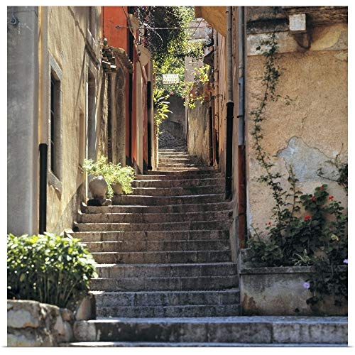 "GREATBIGCANVAS A Stairway invites Walkers to Explore Taormina on Sicily, Italy. Poster Print, 12""x12"""