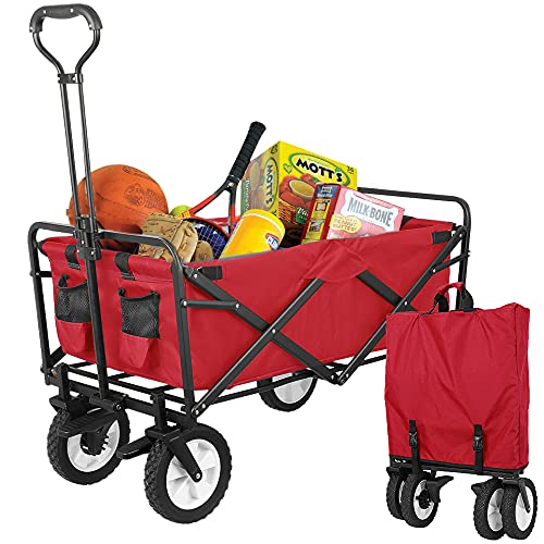 Pirecart Collapsible Folding Wagon, Portable Heavy-Duty Utility Cart, with 7.8''...