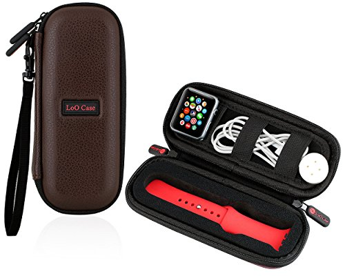The LoO Company: Smartwatch Travel Case Compact – For Smart Watch, Compatible with Apple Watch, Fitbit Blaze, Huawei – Watch Bands & Accessories Case – Holds Multiple Smartwatch Bands (Brown Leather)