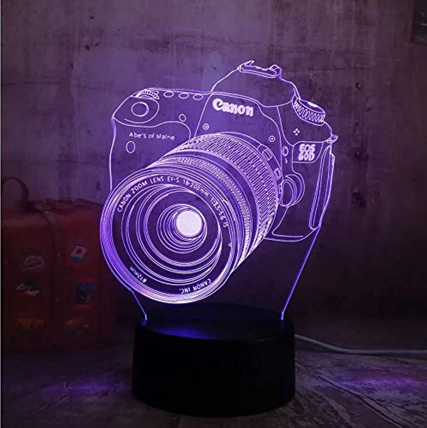 Hnfsliuhao Lamps Cool 3D Camera USB Led Lamp Decoration Home Kids Sleep 7 color Change Night Light Illusion Bedroom Table Desk Lamp Gift