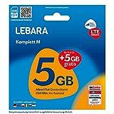 Lebara Mobile Pre-Paid SIM-Karte Komplett M ohne Vertrag | Allnet Flat, 5+5 GB Datenvolumen inkl. LTE in D-Netz Qualität und 250 Frei-Min. ins Ausland
