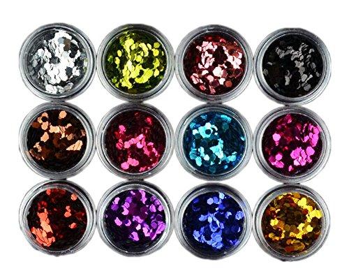 Nail Art Accessoires 12 Couleur Hexagon Glitter 2mm