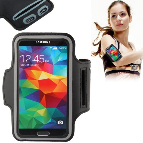 Eloja® Sport Fitness Armband Neopren Tasche Galaxy S7 S6 S5 S4 S3, Schwarz