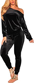 Women Velvet Off Shoulder Sweatshirt Jogger Pants Two Piece Set Tracksuit