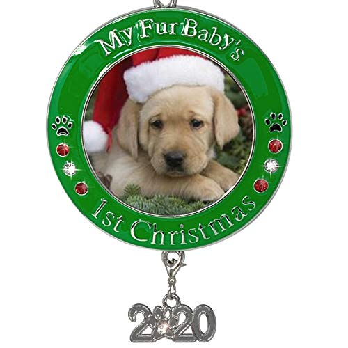 BANBERRY DESIGNS Pet's First Christmas 2020 - Photo Ornament with 2020 Charm and Engraved My Fur Baby's 1st Christmas - Great for a New Puppy or a New Kitten